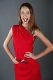 Sexy meisjesmodel in een rode kleding Stock Foto's