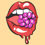 Sexy melting lips with juicy gum or berry. Pop art mouth biting candy. Close up view of abstract cartoon girl eating raspberry. Ve Royalty Free Stock Photos