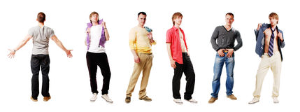 Sexy men. Group of strong young men on a white background Royalty Free Stock Image