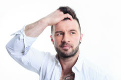 Sexy men with a detach shirt Royalty Free Stock Image