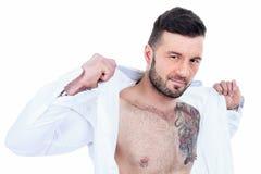 Sexy men with a detach shirt Stock Image