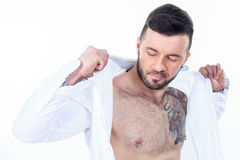Sexy men with a detach shirt Royalty Free Stock Photography
