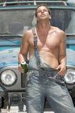 Sexy mens het drinken bier Stock Foto
