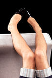mens legs in patent-leather shoes Royalty Free Stock Image