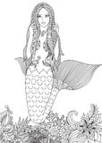 Sexy mermaid. Beautiful mermaid swimming among amazing corals for adult coloring book page. Vector illustration Stock Photos