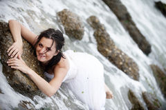 Sexy mermaid (happy bride portrait) Stock Photo