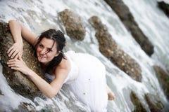 Sexy mermaid (happy bride portrait) Stock Photo