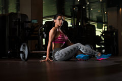 Sexy Mexican Woman Resting In The Gym Stock Image