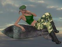 Sexy Militärmädchen, das mit einer Bombe aufwirft Stockfoto