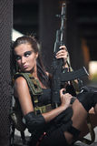 military armed girl with the weapon, sniper Royalty Free Stock Photos