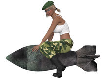 military girl posing with a bomb Royalty Free Stock Photography