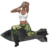 Sexy military girl posing with a bomb Stock Photo