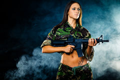 Sexy military girl Stock Photography