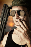 Sexy military man wearing  sunglasses Stock Photos