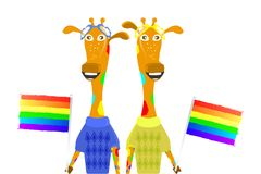 Sexy minority concept. gays, lesbians. And bisexuals. giraffe giants with a flag. children`s illustration Stock Photos