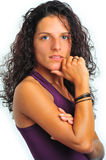 Model with curly long hair. Young model looking straight et the camera royalty free stock images