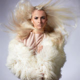 Sexy Model Girl with healthy hair. Beautiful blond young woman in fur.winter fashion.Beauty sexy Model Girl with healthy hair. Woman in Luxury Fur coat Stock Photography