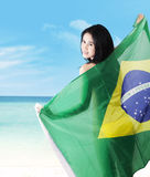 Sexy model holding brazilian flag Stock Photos