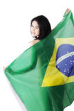 Sexy model holding brazilian flag Royalty Free Stock Photo