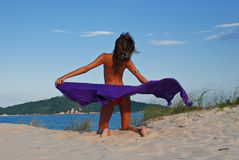 Sexy model op strand met purpere sarongen stock afbeelding