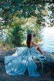 Model Portrait. Girl on a beach. Fashion Art Photo. attractive Woman with naked breast and back in blue dress sitting on rocky beach against watery and trees royalty free stock photos
