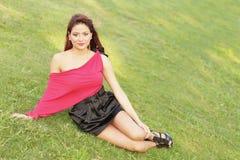 model posing on the grass Stock Photo