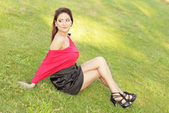 model posing on the grass Stock Image