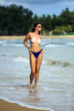 Sexy model posing at tropical beach Royalty Free Stock Photos