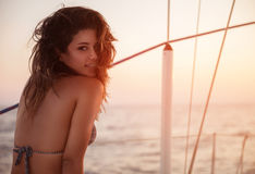 Sexy model on sailboat Royalty Free Stock Photo