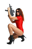 Sexy model with tommy-gun Royalty Free Stock Images