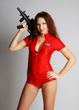 Sexy model with tommy-gun Stock Image
