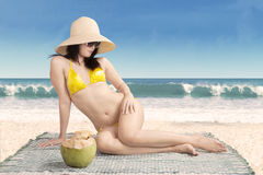Sexy model wearing bikini on beach Royalty Free Stock Image