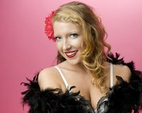 Sexy Model Wearing Feather Boa Royalty Free Stock Photo