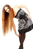 model woman with curly long hairs Stock Photos
