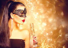 model woman wearing venetian mask stock image