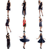 Sexy Models Demonstrating Evening Dresses Collage Royalty Free Stock Photography