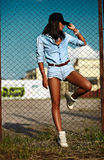 modern model woman in casual jeans cloth Royalty Free Stock Photos