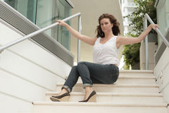 modern woman on the stairs Stock Images