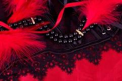 Sexy modieuze parels en zwart kant Stock Afbeelding