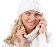 Sexy mooi meisje in de winter witte hoed Stock Foto