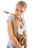 Sexy mooie oungblonde met saxofoon Stock Foto's