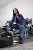 Sexy motorcycle mechanic Stock Photo