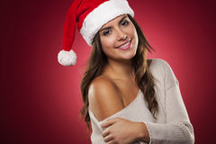 Mrs. claus. Christmas portrait of gorgeous Mrs. Claus royalty free stock photography