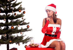 Sexy Mrs. Santa. Sexy Ms. Santa Claus sitting by the Christmas tree with milk and cookies Royalty Free Stock Photography