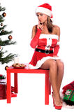 Sexy Mrs. Santa. Sexy Ms. Santa Claus sitting by the Christmas tree with milk and cookies Royalty Free Stock Image