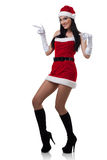 Sexy Mrs. Santa. A sexy young woman dressed in a santa outfit Royalty Free Stock Image