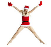 Sexy Mrs. Santa. A sexy young woman dressed in a santa outfit Royalty Free Stock Photo