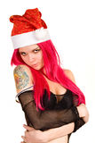 Sexy Mrs. Santa in black fishnet Stock Image
