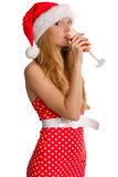 Mrs Santa Claus. With drink isolated on white royalty free stock photo