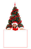 Sexy Mrs. Santa over a billboard Royalty Free Stock Photo